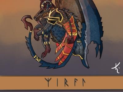 Xirael's Fall original character design illustration characterdesign dragon valkyrie viking fantasyart procreate illustration art