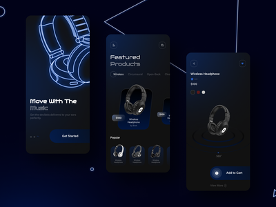 Headphone Store App app ui dark theme ui dark theme design app ui app design ui design online headphone store app music headphone store