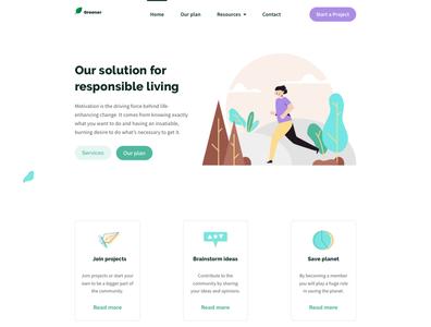 Landing Page Design: Greener vector ui  ux website design