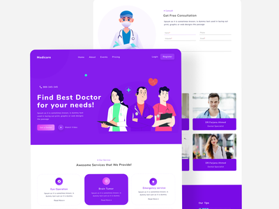 medicare web ui doctor clinic hospital ui challenge modern ui agency landing page app ui design clean ux  ui agency minimal website design