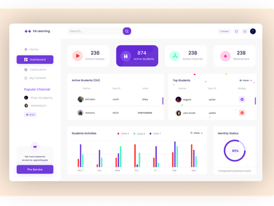 Dashboard foe EN learning app clean product design layout interaction interface clean ui agency landing page minimal website design agency daily ui ui design ui  ux ui dashboard template dashboard design dashboard app dashboard ui dashboard
