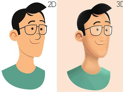 2D 3D photoshop texture 2d character painting 3d 2d render
