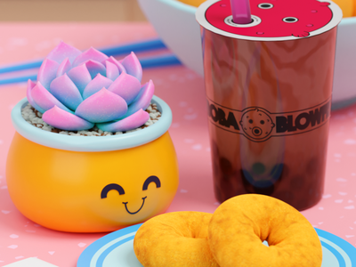 Boba is a way of life illustration cinema4d blender3d light blue color gradient blender lowpoly 3d