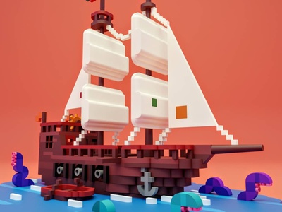 Ship ship illustration blender3d blue color gradient blender lowpoly 3d ship
