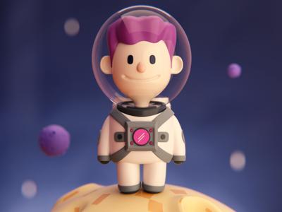Little Spaceman shapes render space blender c4d 3d modeling illustration