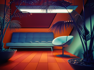 Take a Seat cinema4d blender3d lowpoly dof blue swoosh light gradient color c4d 3d