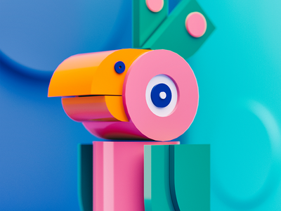 Bird cinema4d blender3d lowpoly dof blue swoosh light gradient color c4d 3d