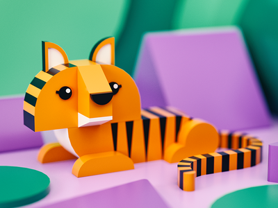Tiger cinema4d blender3d lowpoly dof blue swoosh light gradient color c4d 3d