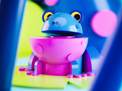 Frog cinema4d blender3d lowpoly dof blue swoosh light gradient color c4d 3d