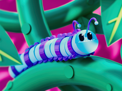 Caterpillar cinema4d blender3d lowpoly dof blue swoosh light gradient color c4d 3d