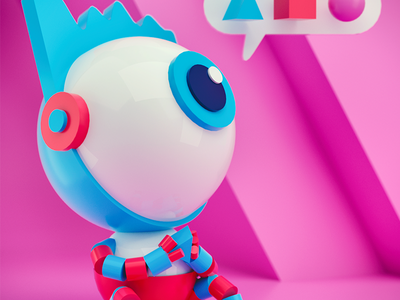 Little Dude cinema4d blender3d lowpoly dof blue swoosh light gradient color c4d 3d