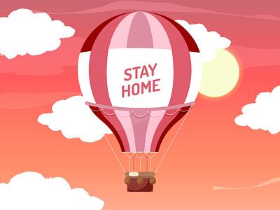 Hot Balloon   Digital Art balloon drawing sky red sky tranding designer designs graphic design art hot balloon illustration art illustrator digital painting digital illustration digital art vector design illustration