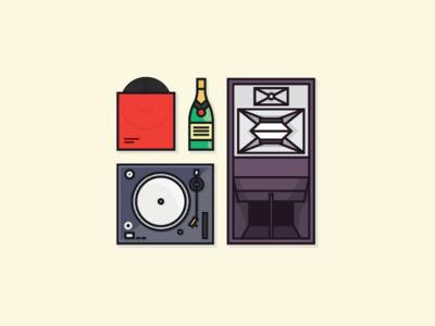 Weekend flat illustration icons
