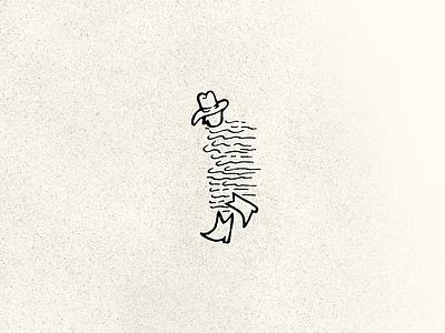 Drifter cream hat boots cowboy wind sketch graphic texture
