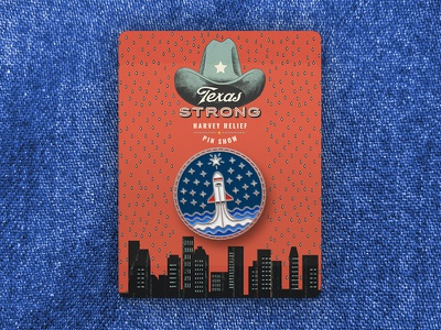 Texas Strong Pin Show - Rise Above Harvey relief hurricane stars strong houston texas rocket graphic pin enamel illustration