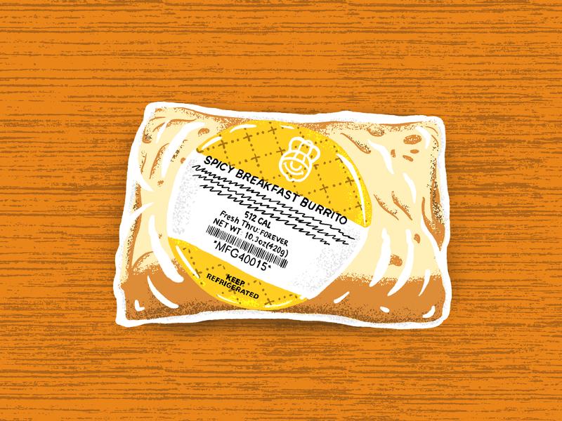 Spicy Breakfast Burrito grainy texture food burrito illustration graphic portrait still life