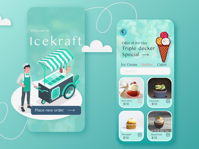 Ice-Cream Parlour App flat app minimal ui design illustration