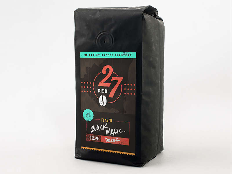 Red27 Coffee Bag Concept coffee bean bag red mockup