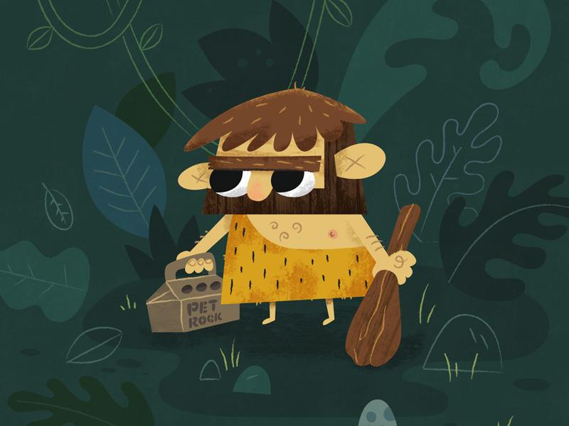 Caveman Sketch rock pet forest caveman