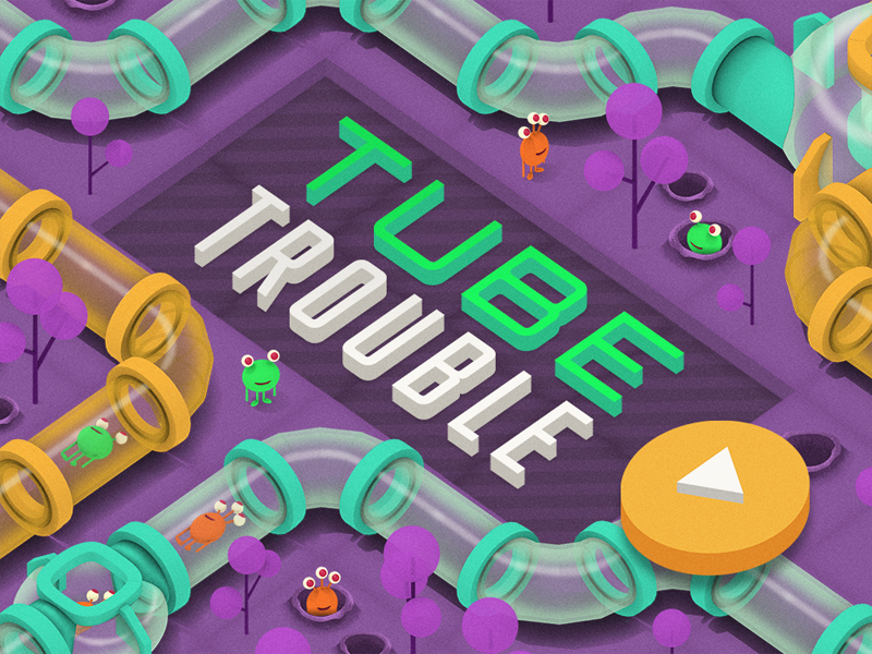Hmh Puzzler 2 tubes alien game low poly 3d