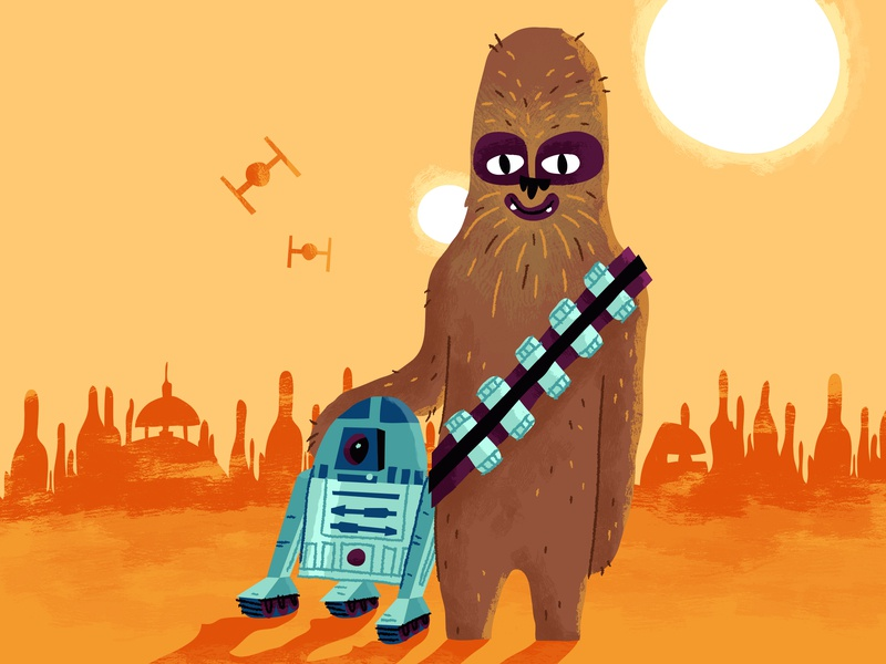 May the 4th be with you! r2d2 star wars day illustration chewy chewbacca