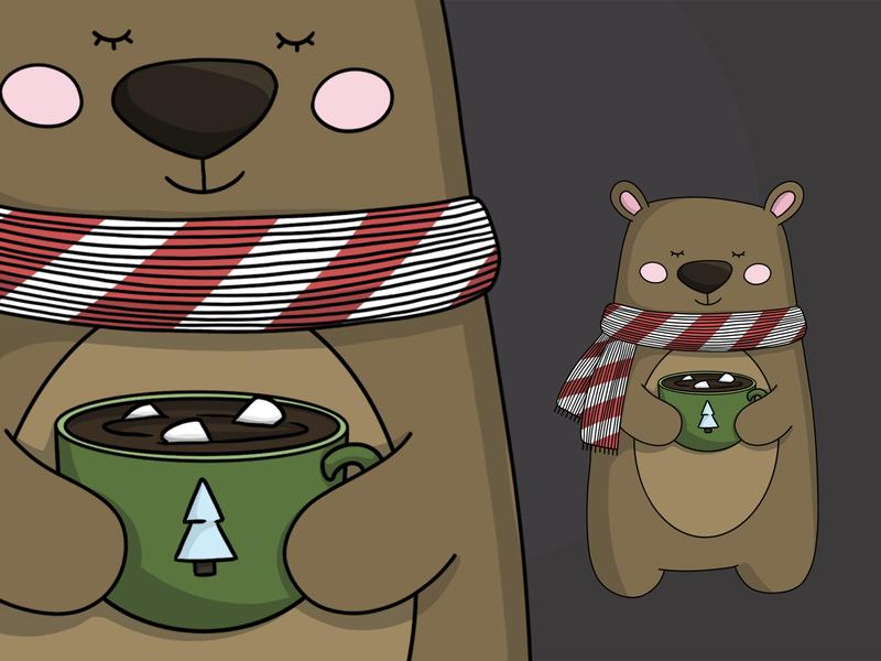 Teddy bear drawingart procreate procreate art warm bear animals card winter illustration illustrator drawing art