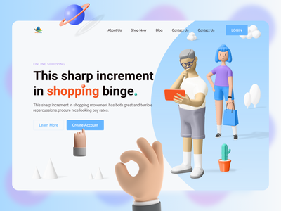 Online Shopping-3D UI Design uiux design website web design web ux design ux ui design ui shopping online shopping landing page product design procreate online shopping minimal 3dlanding page 3d illustration icon color chat call to action