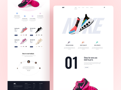Nike Shoes Product Landing page website clean concept minimal interface visual fashion prcduct landing page homepage shoes landing page shoes web ui reebok product shop store ui ux design trending landing page