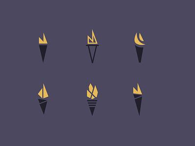 Torches branding design illustration logo flame torch