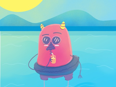 Sunday Night Service floating swimming pool character design flyer party illustration