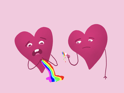 Oops valentines rainbow stab wound ouch oops heartbreak love heart design illustration