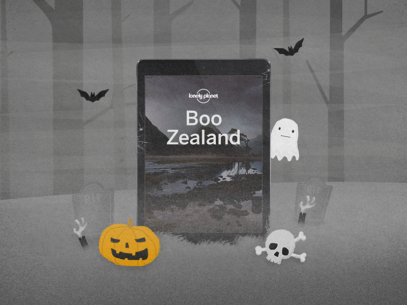 Lonely Planet | Halloween promotion undead forest zombie bats ghost ebook skull pumpkin halloween illustration