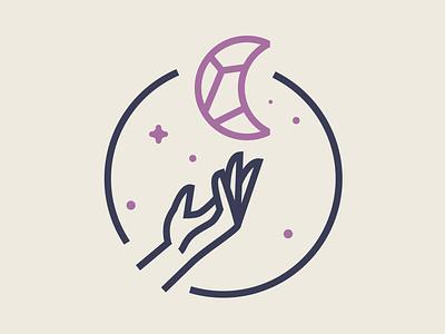 Luna Healing Arts - Logo Mark logo illustration hand space stars crystals luna moon healing