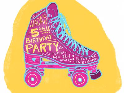 Vada's 5th bday party skate invitation birthday illustration