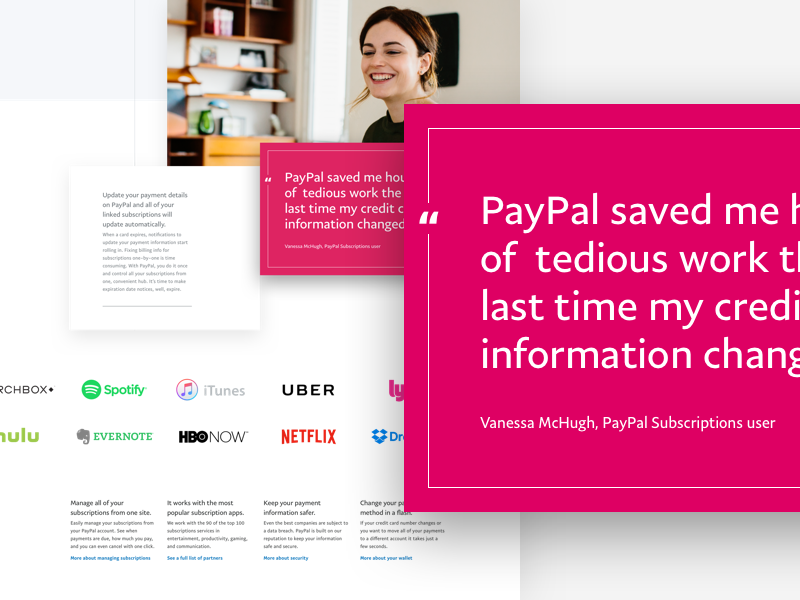 Layout Exploration testimonial pullquote footer wip logos clean pink paypal
