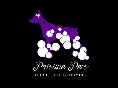 Pristine Pets mobile dog grooming logo vector illustration logo design typography branding