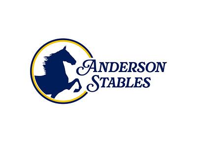 Anderson Stables logo design horse logo farm horse design logo vector typography branding