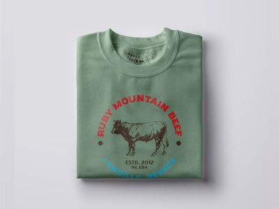 Ruby Mountain Beef Swag items advertising illustration logo vector typography design branding