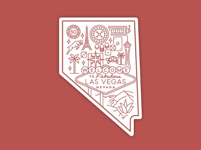 Nevada sticker las vegas nevada hometown sticker icon illustration design