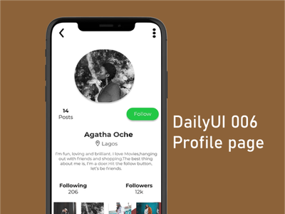 006 Profile page ux profile page userprofile dailyuichallenge dailyui ui design app