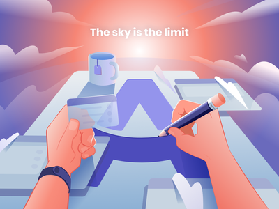 Airdesk - Sky is the limit! task schedule artwork art office productivity app productivity desk purple clouds pencil vector branding animation portugal illustration design