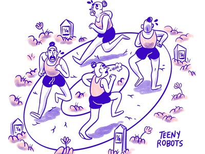 One mile 🎉 cartoon exercise fitness running editorial illustration