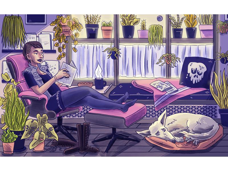 Comic shop window digital art digital procreate illustration window seat golden hour reading onlineshop cartoonist comics