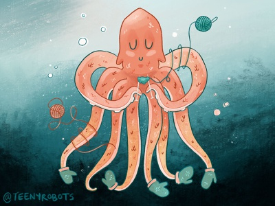 Keeping it cozy, deep sea style. knitting cryptid print illustration kraken