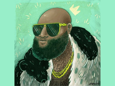 Rick Ross digital procreate portrait illustration rick ross hiphop
