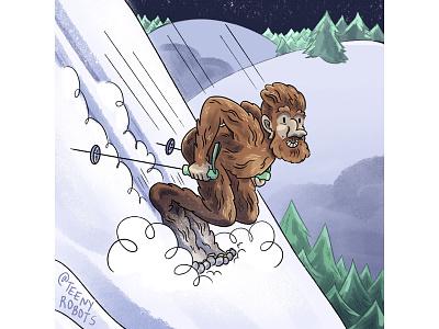 Bigfoot skiier skiing cryptid illustration bigfoot