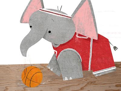 🏀Slam Trunk 🏀 basketball elephant childrens illustration story tutorial photoshop textures texture book illustration kidlitart picture book childrens book illustration
