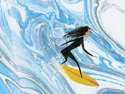 Surf's Up picture book painting marbled paper childrens book kidlitart illustration surfer