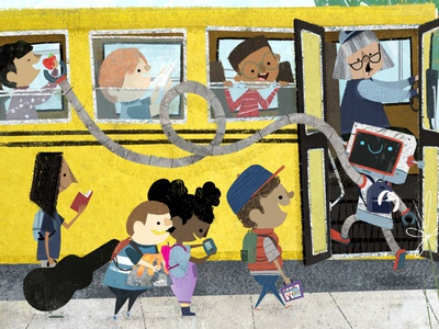 Back to school 🚍 🤖 🍎 📝  story robot childrens illustration childrens book illustration school back to school book illustration kidlitart picture book illustration childrens book
