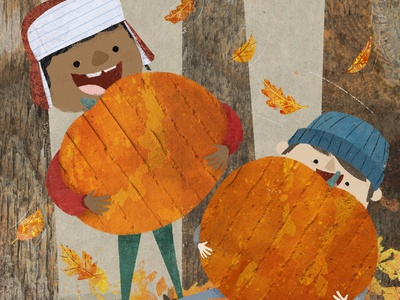🎃 Thank gourd it's October cute childrens illustration texture childrens book illustration kidlit book illustration picture book kidlitart childrens book illustration fall october